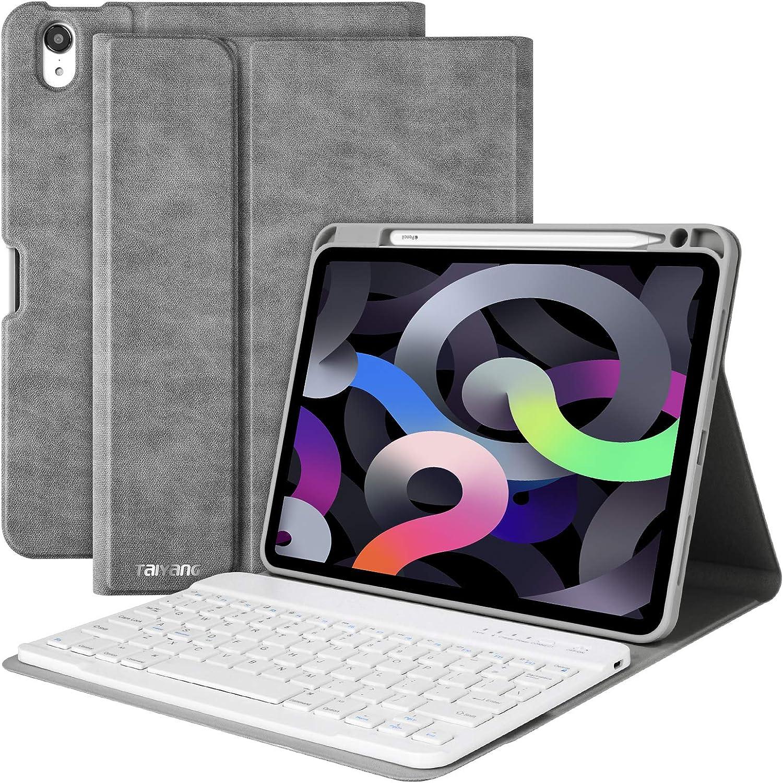 iPad Air 4th Generation Case with Keyboard,iPad 10.9 Keyboard Case 2020,Detachable Bluetooth Keyboard with Pencil Holder,Folio Smart Cover Case for iPad Air 4 Gen(2020)/iPad 11 Pro 2018–Grey