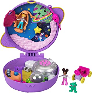 Polly Pocket Saturn Space Explorer Compact with Fun Reveals, Micro Polly and Lila Dolls, Lunar Vehicle, Alien Figure & Sti...