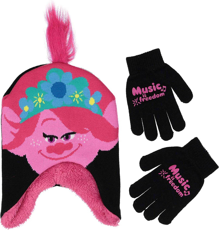 DREAMWORKS TROLLS girls Girl Winter and Glove Set, Dreamworks Trolls Poppy Gloves for Little Age 4-7 Beanie Hat, Pink/Black, Years US