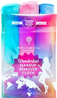 RAINBOW ROVERS Set of 3 Makeup Remover Wipes | Reusable & Ultra-fine Makeup Towels | Suitable for All Skin Types | Removes Makeup with Water | Free Bonus Waterproof Travel Bag | Unicorn