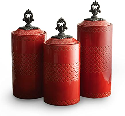 American Atelier Set of 3 ceramic Canisters-Red,  ,  Red