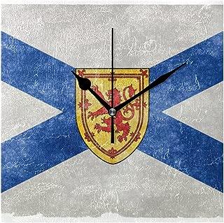 Franzibla Nova Scotia Provincial Flag 7.87 Inch Battery Operated Decorative Wall Clock, Quartz Clock For Bedrooms, Living Room, Bathroom