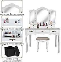 Vanity Beauty Station,Tri-Folding Necklace Hooked Mirrors,6 Organization 7 Drawers Makeup Dress Table with Cushioned Stool and Storage Ottoman-White