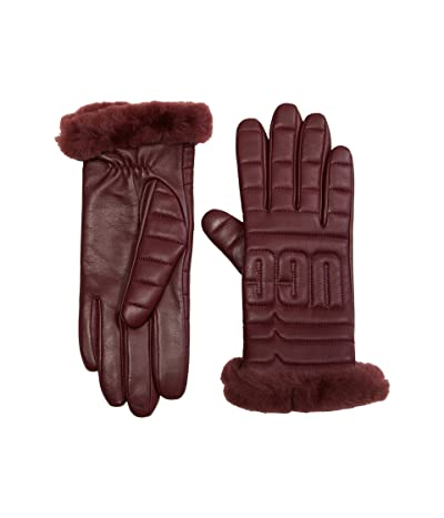 UGG Leather Quilted Logo Gloves with Conductive Tech Palm (Kiss) Extreme Cold Weather Gloves