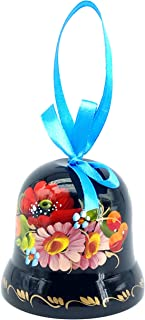 Ukrainian Souvenir Hand Painted Lacquered Wooden Decorative Bell with Ethnic Petrykivka Floral Painting, a Nice Home Decor Accent Item in a Gift Box for Women, Hanging or Desktop (Black and Rose)