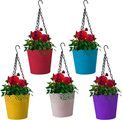 TrustBasket Lace Planter with Hanging Chain - Set of 5 (Yellow, Teal, Pink, Ivory, Purple)
