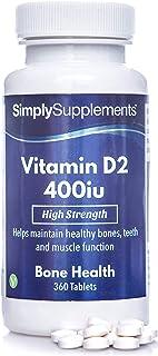 Vitamina D 400iu - ¡Bote para 1 año! - Apto para veganos - 360 Comprimidos - SimplySupplements