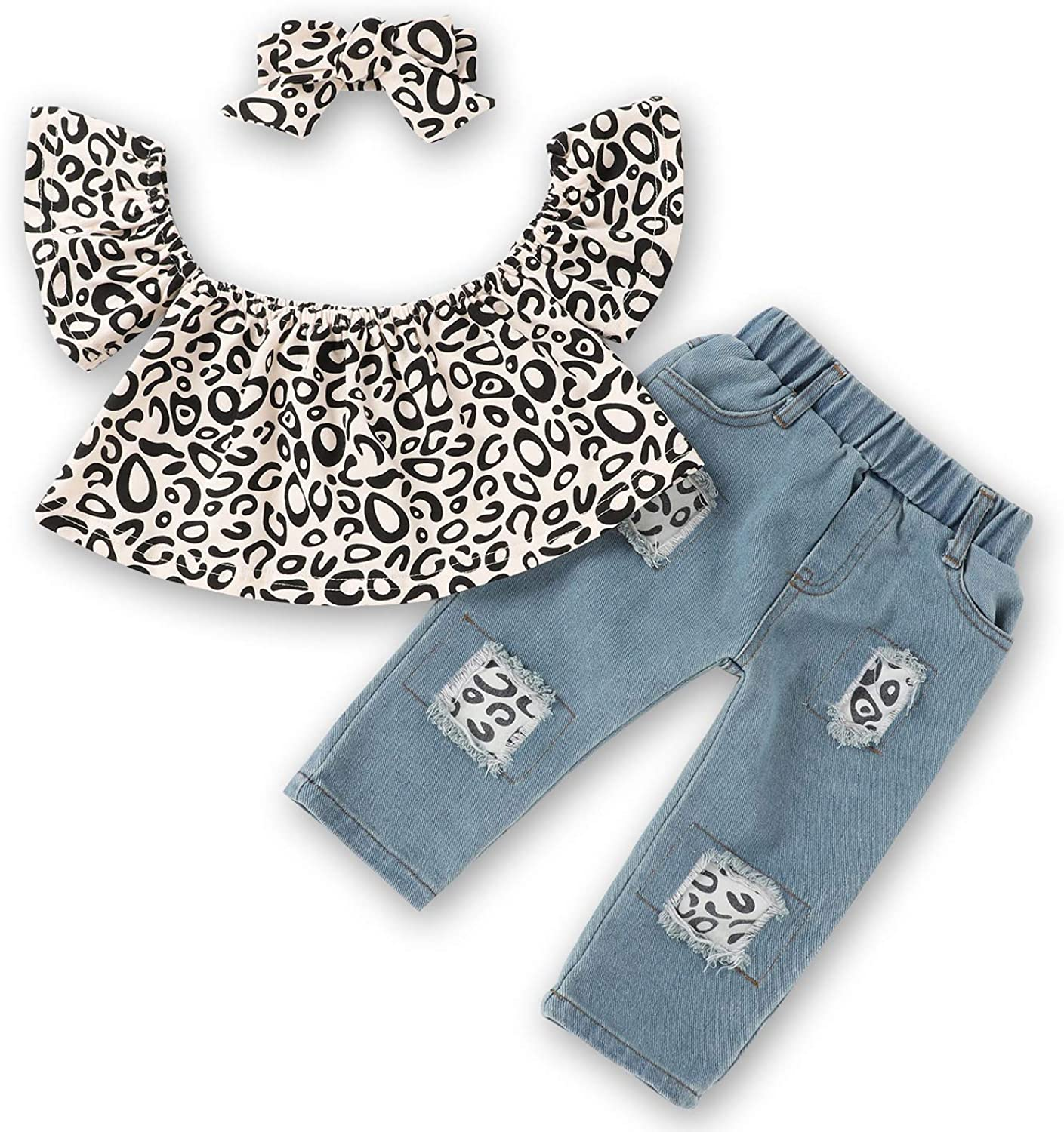 Toddler Girls Clothes Blue Ruffle Short Sleeve Top+Denim Ripped Long Jeans Outfits Baby Girl Clothing