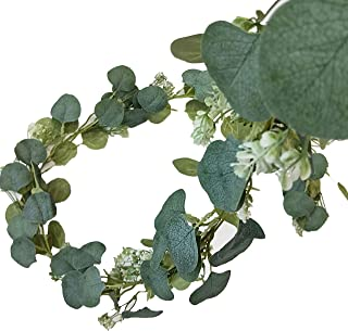 Eucalyptus Garland with Baby Breath Flower, Green Silver Dollar Leaves, Fake Stem, 6 Feet Realistic; Artificial Plants Perfect for Wedding, Background, Decorations, Faux Greenery (Eucalyptus Green, 1)