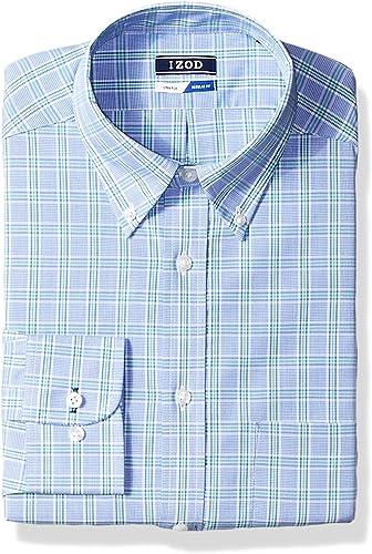 IZOD Hommes's Robe Shirts Regular Fit Stretch Plaid, vert Multi, 16-16.5  Neck 34-35  Sleeve