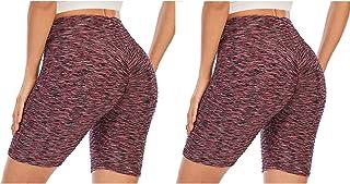 ZhaZhaMeng 2-pack TikTok legging korta byxor rumplyftande yogabyxor för kvinnor hög midja gym nät sport löpning magkontrol...