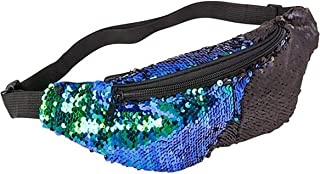 Sequin Waist Bag Fanny Pack Magic Reversible Sequin Waist Pack Double Color Hip Pack Belt Bag for Outdoor Sports,Travel,Party (Blue/Green)