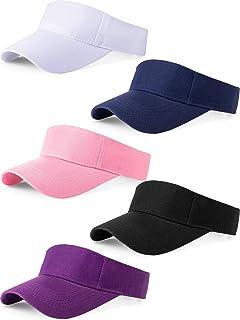 5 Pieces Sport Wear Athletic Visor Sun Visor Adjustable Cap Men Women Sun Sports Visor Hat (Navy, Black, White, Pink, Purple)