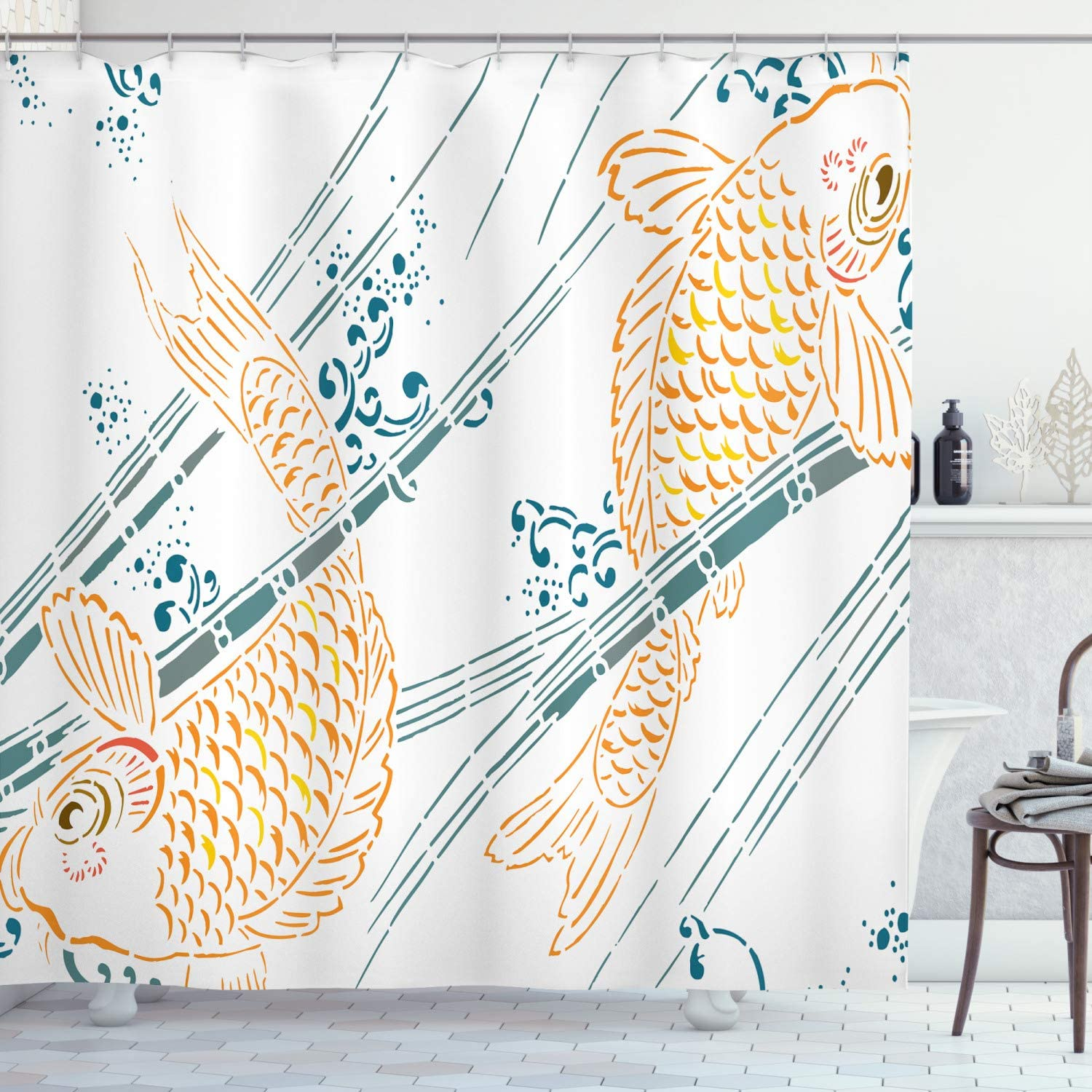 Ambesonne Japanese Shower Curtain Koi Fish sale Pattern Paint Ink supreme in