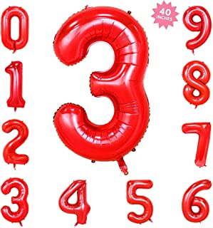 Bechampion 40 Inch Red Jumbo Digital 3 Number Balloons Huge Giant Balloons Foil Mylar Number Balloons for Birthday Party,Wedding, Bridal Shower Engagement Photo Shoot, Anniversary