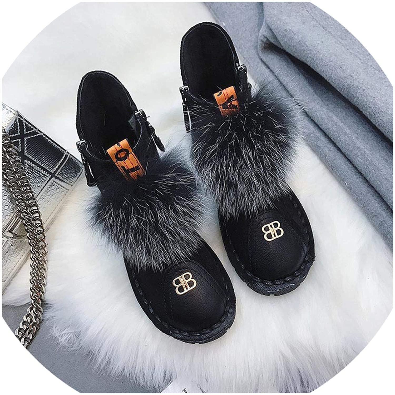 Women Winter Boots Black Flat Zipper Ankle Fur Boots Winter Plush Warm Fur Ball