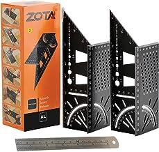 ZOTA 2PCS Woodworking Tools, 3D Mitre Angle Measuring Ruler-Aluminum Alloy Carpentry Tools -45/90 Degree Angle T Ruler wit...