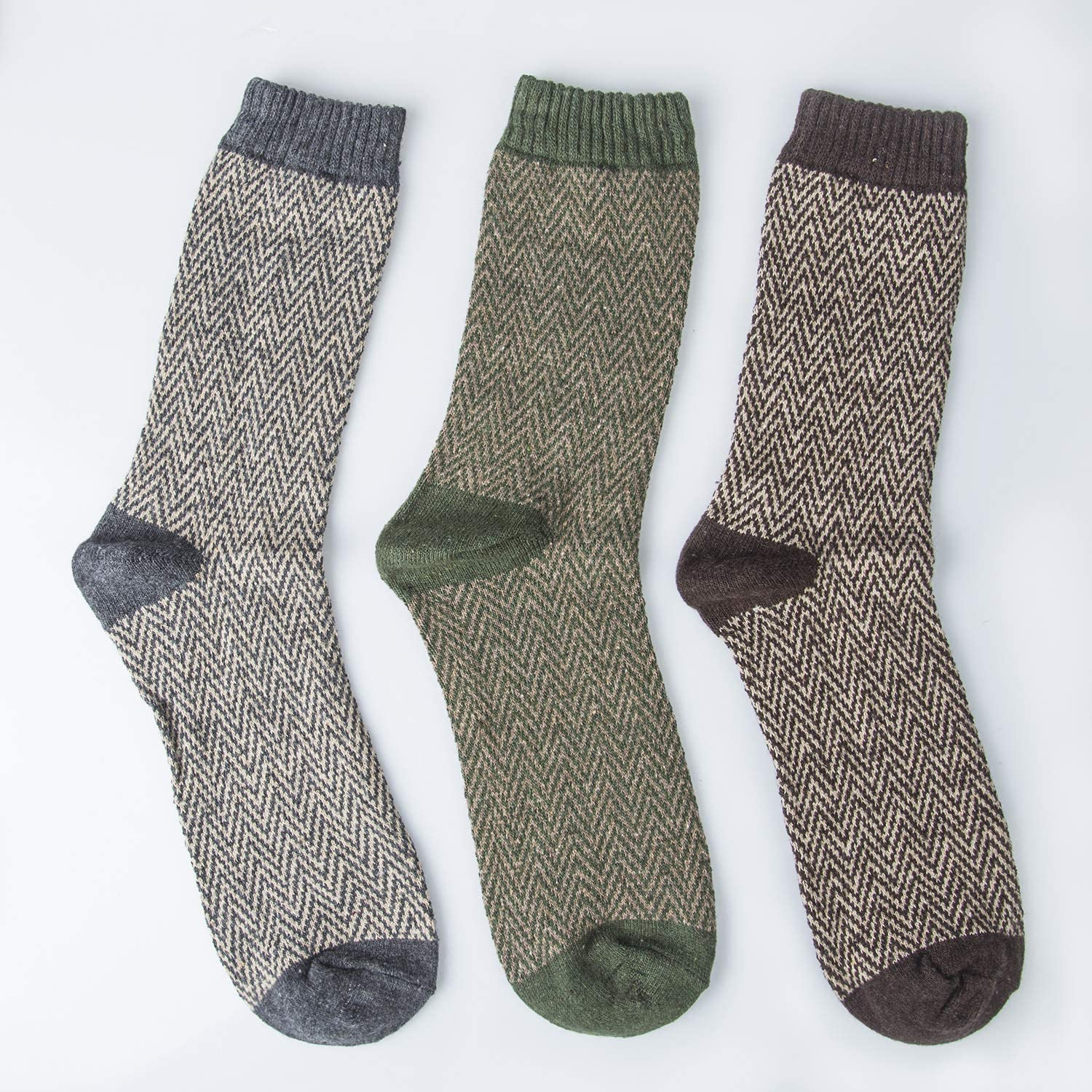 Thick Warm Breathable Crew Socks for Winter 6//5 Pairs Mens Wool Socks