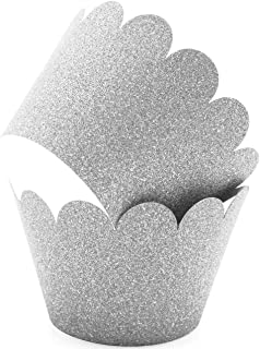 Glitter Cupcake Wrappers Adjustable (100, Silver)