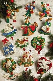 Bucilla Partridge in A Pear Tree Ornaments Felt Applique Kit: 5x5 Set of 12