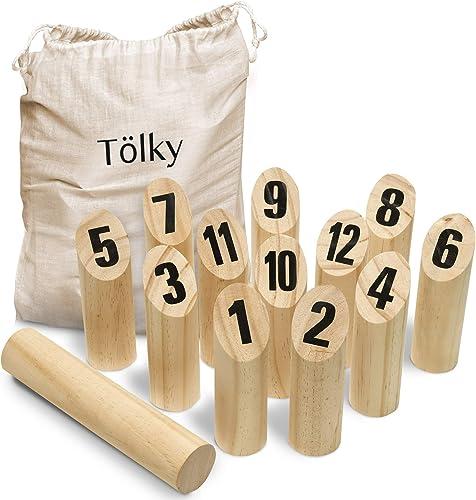 Toyfel Tölky Jeu de quilles finlandais en Bois - Bois écologique FSC® et Sac en Tissu - Jeu de Plein air - de 2 à 4 J...