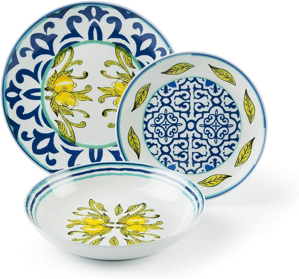 Excelsa  amalfi ,  servizio di piatti ,18 pezzi, in  porcellana 63116
