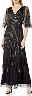 Adrianna Papell Women's Sequin V Neck Dress with Flutter Sleeves