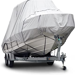 Budge 600 Denier Boat Cover fits Hard Top/T-Top Boats B-621-X8 (24' to 26' Long, Gray)