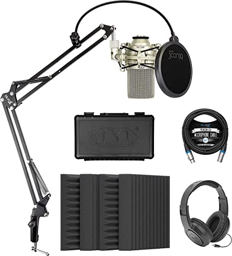 """lowest MXL 990 Cardioid Condenser Microphone (Champagne) Bundle with Blucoil 4-Pack of 12"""" Acoustic Foam Isolation popular Panel Wedges, 10' XLR Cable, Boom Arm Plus outlet sale Pop Filter, and Samson SR350 Headphones outlet sale"""