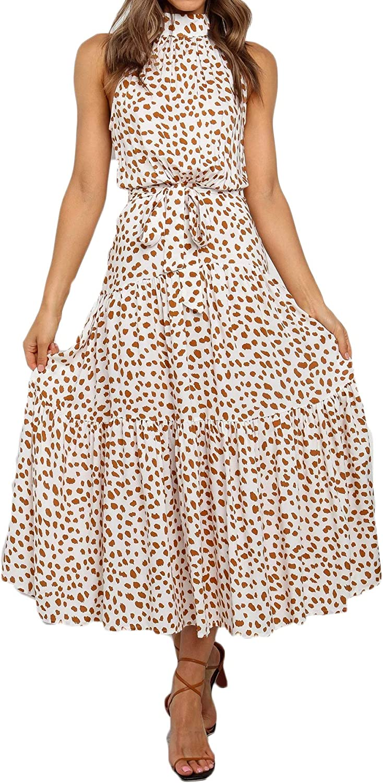 ROVLET Women's Boho Dress Beach Halter Neck Sexy Sleeveless Floral Maxi Casual Sundresses Party Dating