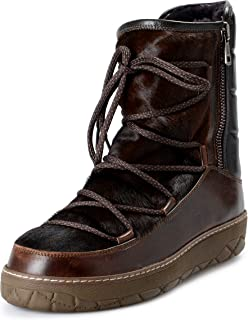 Men's Brown Leather & Real Fur Snow Boots Shoes US 11 IT 44