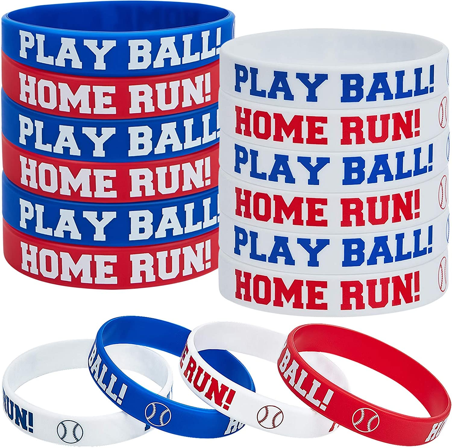 24 Pieces Baseball Silicone Rubber Bracelets Boy Rubber Wristbands Baseball Bracelet Wristbands for School Gifts Party Favors