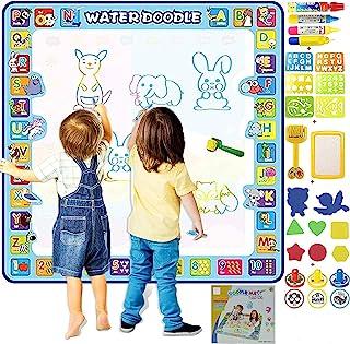 SAKLAM Extra Large 100X100 CM Aqua Magic Water Doodle Mat, Water Painting, Drawing, Coloring and Doodling Mat for Toddler ...