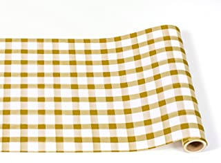 """Hester & Cook Paper Table Runner 20"""" x 25' Roll (Gold Painted Check)"""