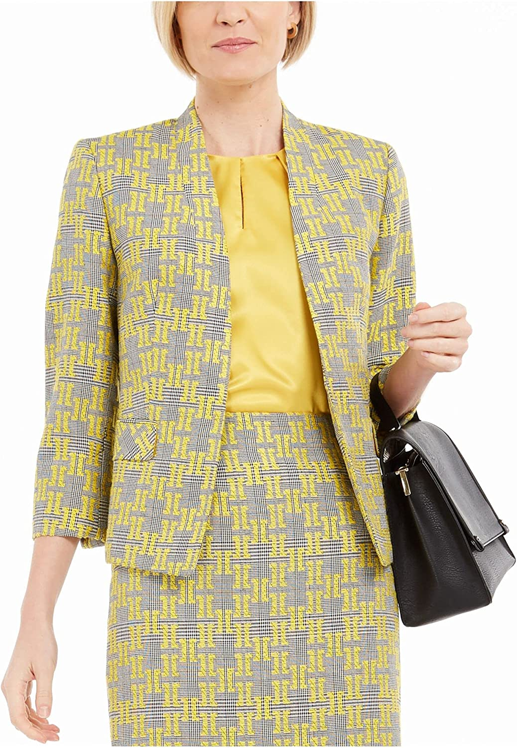 OFFicial store KASPER Great interest Womens Yellow Printed Wear To Work 14P Size Jacket