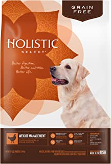 Holistic Select Natural Dry Dog Food Grain Free Weight Management Chicken Meal & Peas