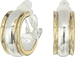 Back to Basics II Two-Tone Wedding Band Clip Hoop Earrings