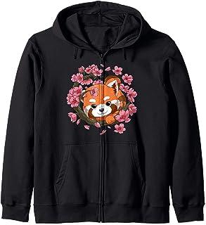 Panda Rouge et Fleur de Cerisier Sakura Japonais Sweat à Capuche