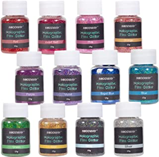 NODDWAY Ultra Fine Glitter 12 Colors Holographic Glitter Powder, Festival Glitter Shakers for Arts, Crafts, Resin,Tumblers, Slime,Decoration, 15g Each