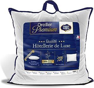 Sweetnight - Oreiller Percale | 65x65 cm | 100% Coton | Confort Gonflant et Moelleux | Anti Acariens |Qualité Hotellerie d...