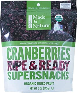 Made In Nature Organic Cranberries, Dried and Unsulfured, 4 Ounce Bag