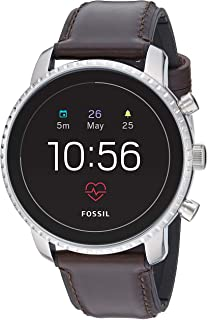 Men's Gen 4 Explorist HR Heart Rate Stainless Steel and Leather Touchscreen Smartwatch, Color: Silver, Brown (Model: FTW4015)