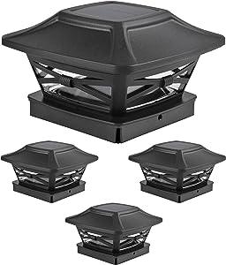 Davinci Lighting Renaissance Solar Outdoor Post Cap Lights - Includes Bases for 4x4 5x5 6x6 Posts - Bright LED Light - Slate Black (4 Pack)