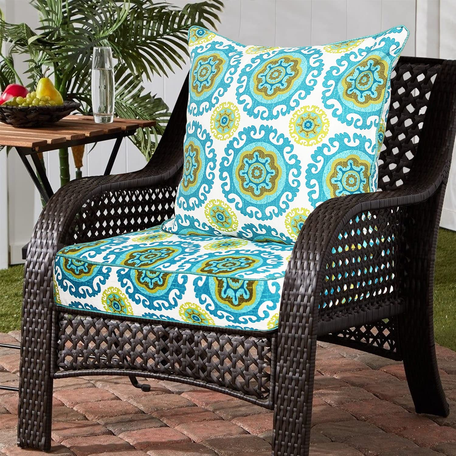 Outdoor Seat and Back Cushions 24 x 24 Inch Teal Deep Seat Cushion Set, Replacement Cushions for Outdoor Furniture, Huron Nap