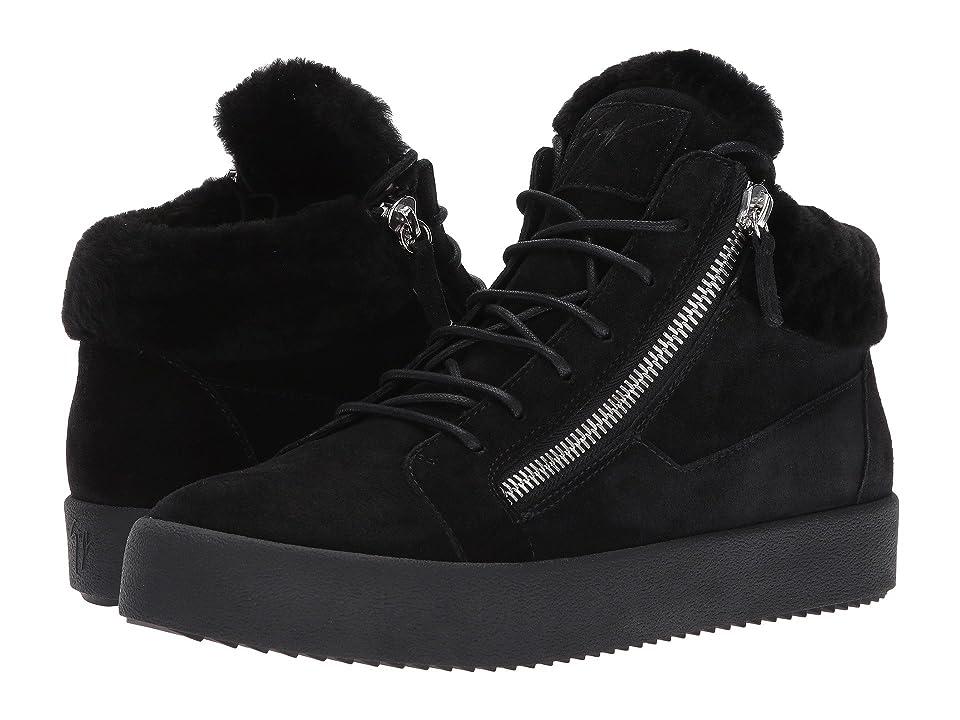 Giuseppe Zanotti May London Mid Top Shearling Sneaker (Black) Men