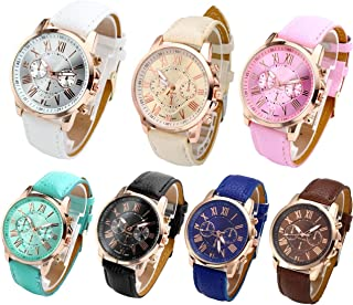 Top Plaza Fashion Womens Analog Quartz Wristwatches PU Leather Band Rose Gold/Gold Tone