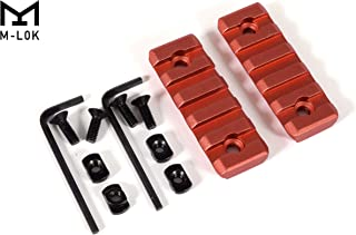 GOTICAL 5 Slots M-LOK Rail Section for M Lok Handguard Five Slots Rail Picatinny Rail Set of 2 Pieces Mlok Rail RED