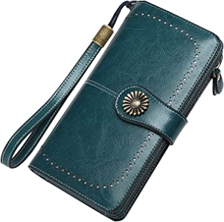 Wallet for Women Large Capacity RFID Blocking Real Leather Purse Clutch Checkbook