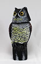 Home and Garden Products Large Realistic Owl Decoy With Rotating Head Bird Pigeon Crow Scarer Scarecrow