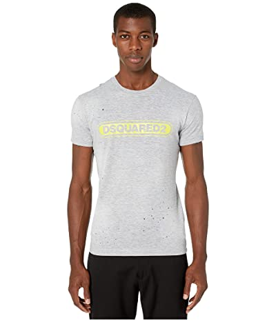 DSQUARED2 Close Line Wash Reto Brand Chic Dan Fit T-Shirt (Grey Melange) Men